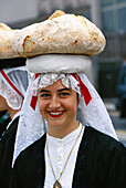 Woman with typical dress. Santiago de Compostela. La Coruña province. Spain