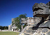 The Jaguar Temple from the Platform of Jaguars and Eagles (UNESCO World Heritage). Chichen Itza. Yucatan. Mexico.