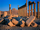 Ruins of the old Greco-roman city of Palmira at sunrise. Syria