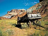 Historic wagon. Capitol Reefs. Utah. USA