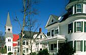 Maine village in winter. New England. USA