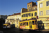 Tram at Alfama, Moorish quarter (Old town). Lisbon. Portugal