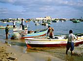 Fishing boats anchored at bay with Qait Bay fortress at rear. Alexandria. Egypt