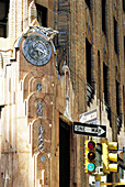 USA. NY, Manhattan. Clock of Art Deco, historic General Electric building