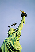 USA. NYC. Manhattan. Liberty statue and helicopter