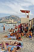 The beach. Seaside resort of Mondello near Palermo. Sicily. Italy