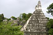 Pyramid of Jaguar temple on Plaza Mayor. Maya archeological site of Tikal, Guatemala
