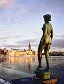 RiddarHolmen island view from the City Hall in winter. Statue au premier plan. Stockholm. Sweden