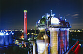 Meiderich steelworks at night, Public Park, Landschaftspark Nord, Duisburg, Ruhr Valley, Ruhrtal, Northrhine Westphalia, Germany