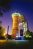 Aquarius Water Museum at night, Mühlheim, Ruhr Valley, Ruhr, Northrhine Westphalia, Germany