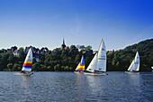 Sailing boats on a lake, Harkortsee, Wetter, Ruhr Valley, Ruhr, Northrhine, Westphalia, Germany