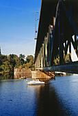 Railway bridge over river Ruhr, Essen, North Rhine-Westphalia, Germany