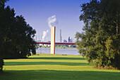 Steel sculpture Rheinorange, river Ruhr mouth, Duisburg, North Rhine-Westphalia, Germany