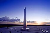 Sundail with obelisk, Halde Hoheward, Ruhr, Ruhr Valley, Herten, Northrhine Westphalia, Germany