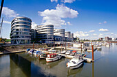 Marina with office buildings Five Boats, Inland harbour, Duisburg, Ruhr Valley, Ruhr, North Rhine Westphalia, Germany