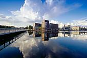 Office buildings at basin, Duisburg, North Rhine-Westphalia, Germany