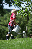 Boy (4-5 years) watering a tree, Styria, Austria