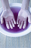 Adult, Adults, Beauty, Beauty Care, Bowl, Bowls, Close up, Close-up, Color, Colour, Contemporary, Female, Feminine, Hand, Hands, Human, Hygiene, Indoor, Indoors, Inside, Interior, Liquid, Liquids, Manicure, One, One person, People, Person, Persons, Verti