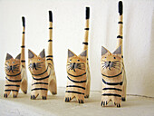 Alike, Amusing, Animal, Animals, Cat, Cats, Chance, Color, Colour, Concept, Concepts, Decoration, Domestic cat, Domestic cats, Felis catus, Four, Four items, Funny, Handicraft, Handicrafts, Horizontal, Indoor, Indoors, Inside, Interior, Lined up, Lined-u