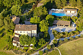 Aerial of Alain Ducasse s La Bastide de Moustiers hotel and restaurant, Moustiers-Sainte-Marie. Alpes de Haute-Provence, Provence, France