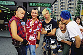 Young punk people in Harajuku park on Sunday, Tokyo. Japan