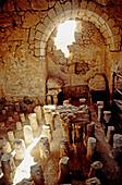 Hot bath room, ruins of ancient Massada fortress by the Dead Sea. Israel