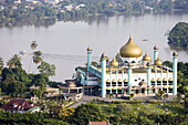 Mosque, overview on the city from top of Merdeka Hotel, Kuching. Sarawak, Borneo. Malaysia