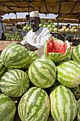 Watermelon seller at market, Atbarah. Upper Nubia, Blue Nile state, Sudan