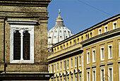 Typical buildings with Vatican, St. Peters behind. Rome. Italy