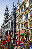 Belgium. Brussels. Grand Place. King s house or bread house with outdoor cafe in foreground