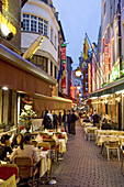 Belgium. Brussels. Restaurant street with chez leon