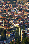 Bosnia-Hercegovina, Sarajevo, panoramic view of mosques and minarets in Turkish quarter