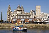 Europe, UK, England, Liverpool, Merseyside docks skyline