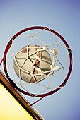 Aim, Aiming, Aims, Ball, Balls, Basket, Basketball, Baskets, Color, Colour, Concept, Concepts, Court, Courts, Daytime, Exterior, Game, Games, Goal, Goals, Hoop, Hoops, Low angle view, Match, Matches, Net, Nets, Outdoor, Outdoors, Outside, Playground, Pla