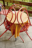 Bar, Bars, Cafe terrace, Cafe terraces, Chair, Chairs, Color, Colour, Concept, Concepts, Daytime, Empty, Exterior, Lean, Leaning, Leisure, Nobody, Outdoor, Outdoor cafe, Outdoor cafes, Outdoors, Outside, Ready, Red, Restaurant, Restaurants, Table, Tablec