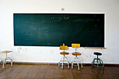 Abandoned, Abandonment, Blackboard, Blackboards, Board, Boards, Careless, Carelessness, Chair, Chairs, Chalkboard, Chalkboards, Classroom, Classrooms, Color, Colour, Contemporary, Daytime, Empty, Empty room, Empty rooms, Forbidden, Furniture, Indoor, Ind