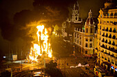 Fallas, festive bonfires on the night of St. Joseph. Valencia city hall square, Valencia. Spain.