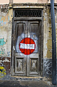 Aged, Bicycle, Bicycles, Bike, Bikes, Biking, Color, Colour, Cycle, Cycles, Door, Doors, Forbidden, Graffiti, Graffito, Old, Prohibited, Prohibition, Sign, Signs, Wood, Wooden, D56-505761, agefotostock