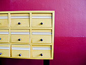 Arrangement, Chest of drawers, Chest of draws, Chests of drawers, Close up, Close-up, Closed, Closeup, Color, Colour, Concept, Concepts, Detail, Details, Drawer, Drawers, Furniture, Geometry, Indoor, Indoors, Interior, Order, Pattern, Patterns, Sorting,