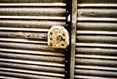 Aged, Closed, Color, Colour, Concept, Concepts, Daytime, Detail, Details, Exterior, Iron gate, Iron gates, Lock, Locked, Locks, Old, Old fashioned, Old-fashioned, Outdoor, Outdoors, Outside, Security, D56-586853, agefotostock