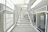 Architecture, Building, Buildings, Color, Colour, Concept, Concepts, Daytime, Detail, Details, Horizontal, Indoor, Indoors, Inside, Interior, Metal, Nobody, Rail, Railing, Railings, Rails, Staircase, Stairs, Step, Steps, White, Window, Windows, B19-33571