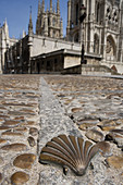 Scallop (symbol of the Road to Santiago) on pavement with cathedral in background, Burgos. Castilla-León, Spain