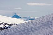 Winter at Kamchatka, Sibiria, Russia, eruption of the Karymsky