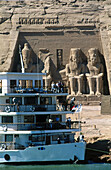 Cruise ship in front of Ramses II temple, Abu Simbel. Egypt