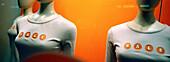 Clothing store, Color, Colour, Commerce, Concept, Concepts, Detail, Details, Dummies, Dummy, Fashion, Feminine, Indoor, Indoors, Inside, Interior, Mannequin, Mannequins, Negative image, Orange, Panorama, Panoramas, Panoramic, Retail, Sale, Sales, Shop, S