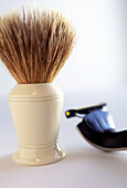 Bathroom, Bathrooms, Beauty, Beauty Care, Body care, Brush, Brushes, Color, Colour, Contemporary, Hygiene, Indoor, Indoors, Inside, Interior, Masculine, Object, Objects, Pair, Razor, Razors, Shave, Shaver, Shavers, Shaving, Shaving brush, Still life, Thi