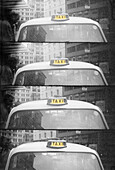Cab, Cabs, Cities, City, Color, Colour, Daytime, Detail, Details, Divided, Exterior, Four, Monochromatic, Monochrome, Multiple, Outdoor, Outdoors, Outside, Repetition, Service, Sign, Signs, Special effects, Split, Street, Streets, Taxi, Taxicab, Taxicabs