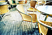 Absence, Absent, Bar, Bars, Cafe terrace, Cafe terraces, Chair, Chairs, Color, Colour, Daytime, Empty, Exterior, Horizontal, Leisure, Many, Outdoor, Outdoor cafe, Outdoor cafes, Outdoors, Outside, Ready, Street, Streets, Table, Tables, Tavern, Taverns, U