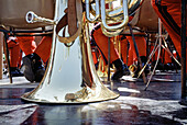 Brass, Color, Colour, Concept, Concepts, Contemporary, Daytime, Detail, Details, Exterior, Floor, Floors, Horizontal, Human, Leisure, Mirror image, Mirror images, Music, Music band, Music bands, Musical instrument, Musical instruments, Musician, Musician