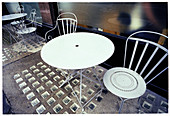 Absence, Absent, Bar, Bars, Cafe, Cafe terrace, Cafe terraces, Cafes, Chair, Chairs, Coffee shop, Coffee shops, Color, Colour, Concept, Concepts, Contemporary, Empty, Exterior, Horizontal, Metal, Nobody, Outdoor, Outdoor cafe, Outdoor cafes, Outdoors, Ou